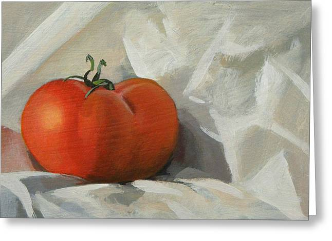 Tomato Greeting Card by Peter Orrock