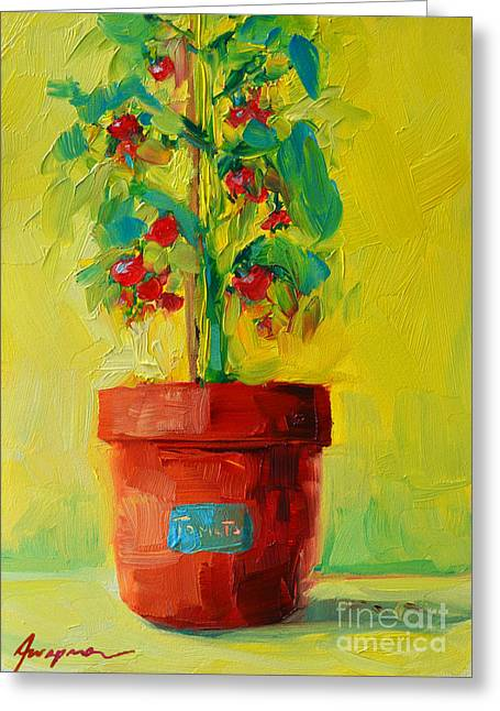 Tomato Plant Still Life Oil Painting Greeting Card by Patricia Awapara