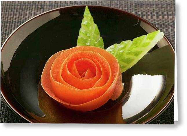 Tomato Rose And Carved Cucumber Leaves Greeting Card