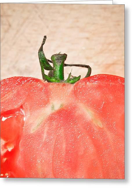 Tomato Greeting Card by Tom Gowanlock