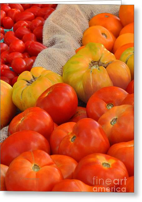 Tomato Variations By Nj Greeting Card by Regina Geoghan