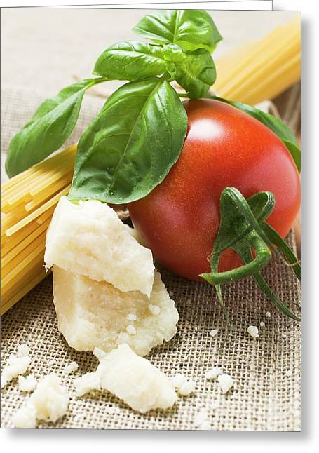 Tomato With Spaghetti, Parmesan And Basil Greeting Card