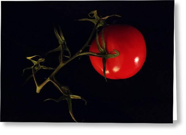 Tomato With Stem Greeting Card by Patricia Januszkiewicz