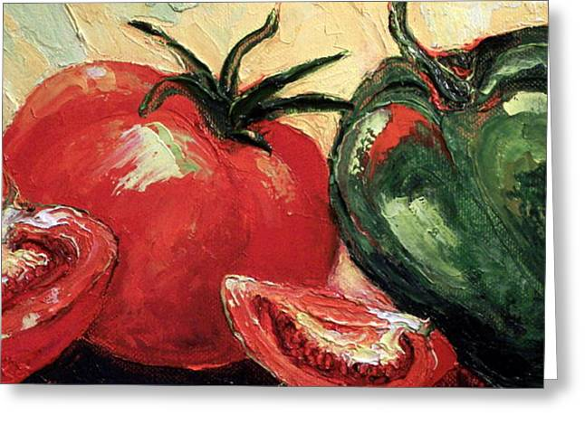 Tomatoes And Green Pepper Greeting Card by Paris Wyatt Llanso