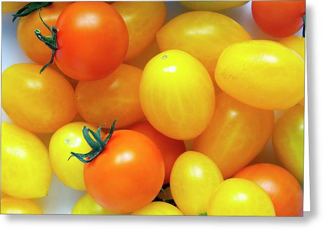 Tomatoes 'ildi' And 'orange Paruche' Greeting Card by Ian Gowland