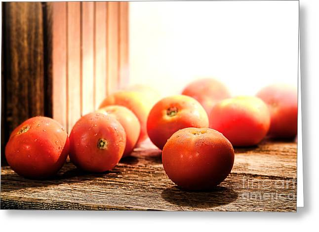 Tomatoes In An Old Barn Greeting Card by Olivier Le Queinec