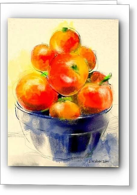 Tomatoes In Blue Bowl Greeting Card by Sue Roberson