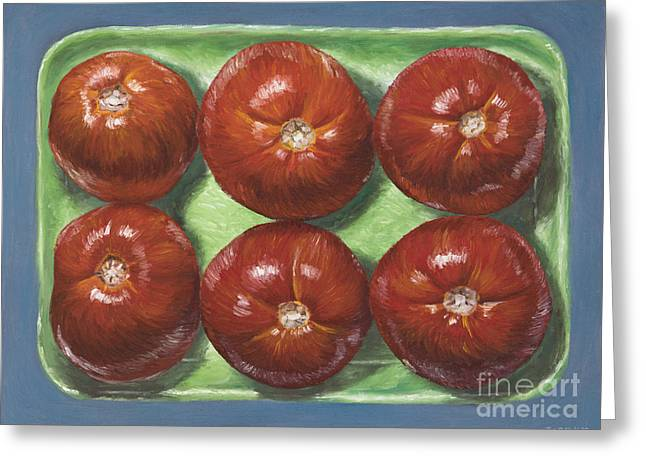 Tomatoes In Green Tray Greeting Card by Jim Zahniser