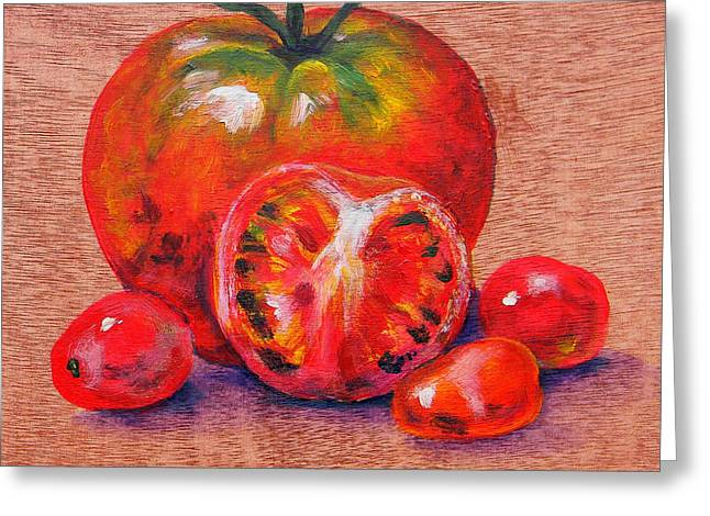 Tomatoes Greeting Card by Judy Bruning