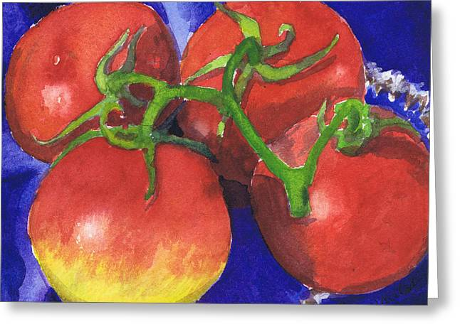 Greeting Card featuring the painting Tomatoes On Blue Tile by Susan Herbst
