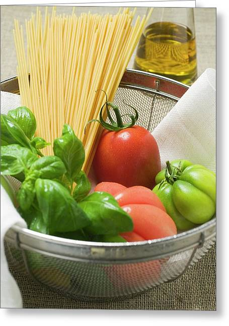 Tomatoes, Spaghetti And Basil In A Bowl Greeting Card