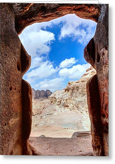 Tomb In Petra Greeting Card by Alexey Stiop