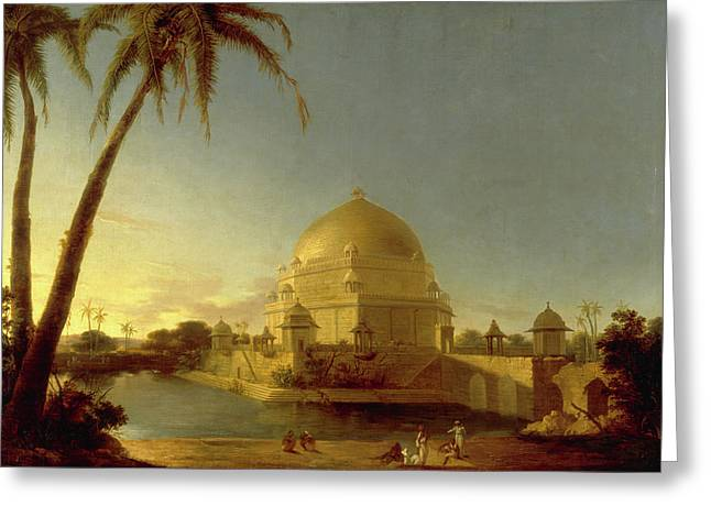 Tomb Of Sher Shah, Sasaram, Bihar Signed In Black Paint Greeting Card by Litz Collection