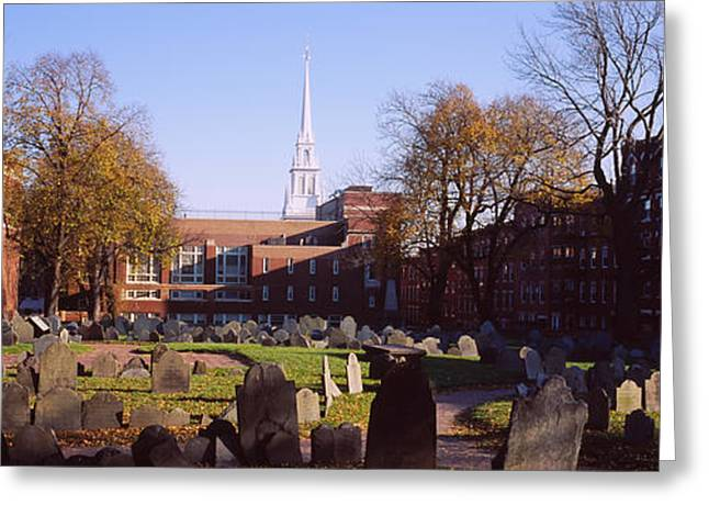 Tombstones In A Cemetery, Copps Hill Greeting Card by Panoramic Images
