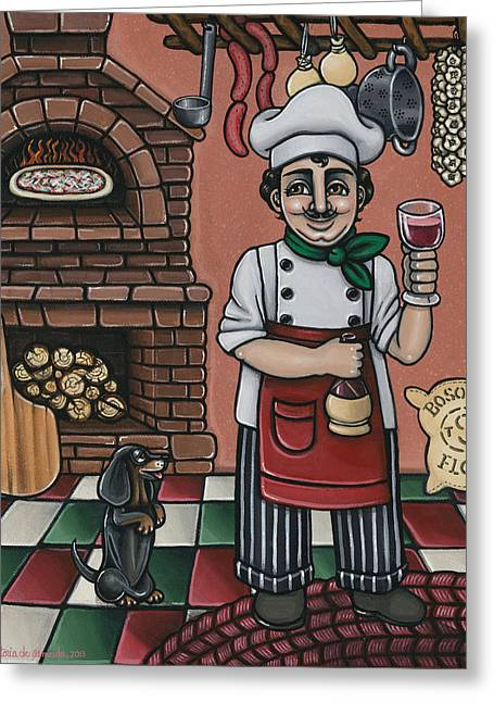 Tommys Italian Kitchen Greeting Card by Victoria De Almeida
