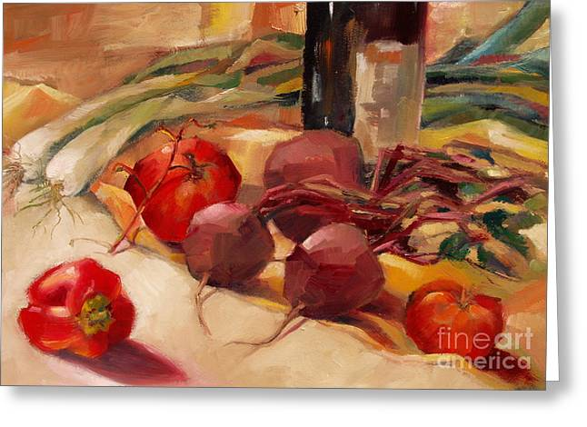 Greeting Card featuring the painting Tom's Bounty by Michelle Abrams