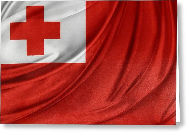 Tongan Flag Greeting Card by Les Cunliffe