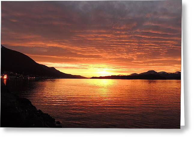 Tongass Narrows Sunrise On 12/12/12 Greeting Card by Karen Horn