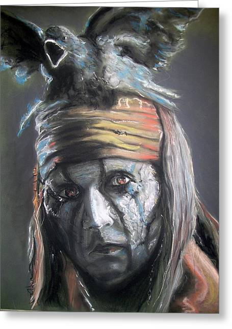 Greeting Card featuring the pastel Tonto by Peter Suhocke