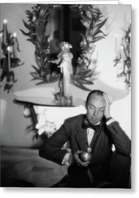 Tony Duquette Wearing A Tuxedo Greeting Card by George Platt Lynes