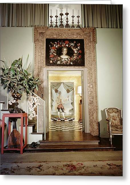Tony Duquette's Entrance Hall Greeting Card by Shirley C. Burden