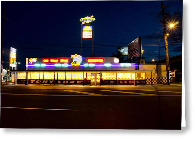 Tony Lukes - Cheese Steaks Greeting Card by Bill Cannon