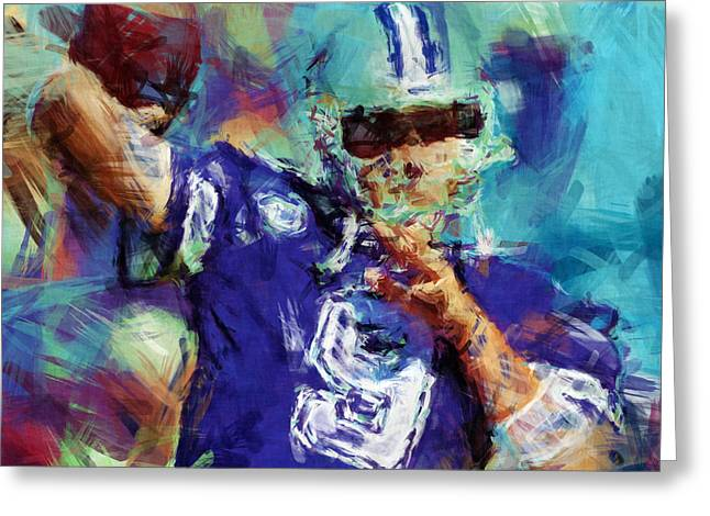 Tony Romo Abstract 3 Greeting Card by David G Paul