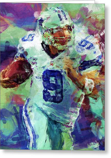 Tony Romo Abstract 4 Greeting Card by David G Paul