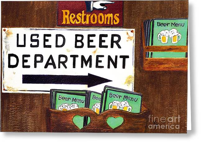 Greeting Card featuring the painting Too Many Suds by Karen Fleschler