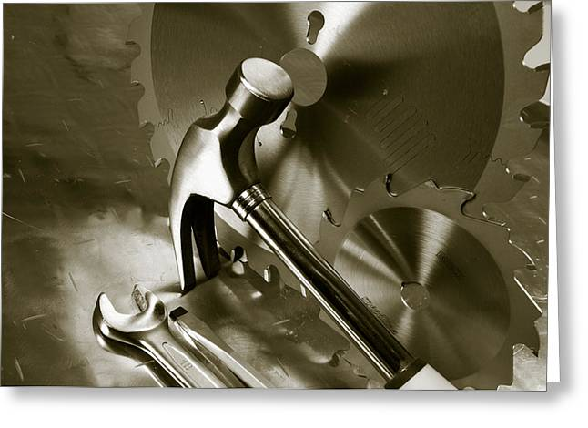 Tools And Stainless-steel Idea Greeting Card by Christian Lagereek
