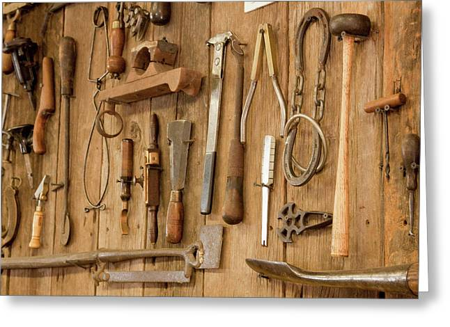 Tools Mounted On Wooden Wall Greeting Card