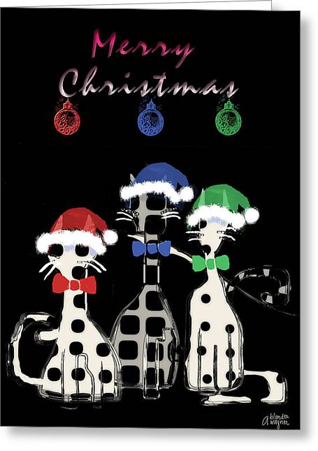 Greeting Card featuring the digital art Toon Cats Christmas by Arline Wagner