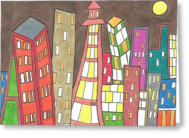 Toon City Scape Greeting Card by Ray Ratzlaff
