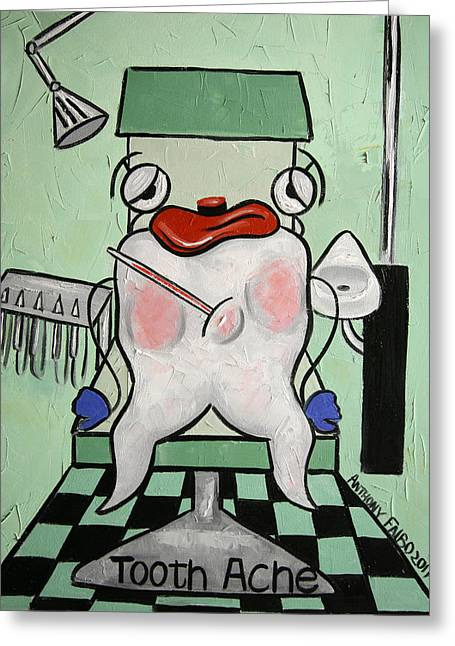 Greeting Card featuring the painting Tooth Ache by Anthony Falbo