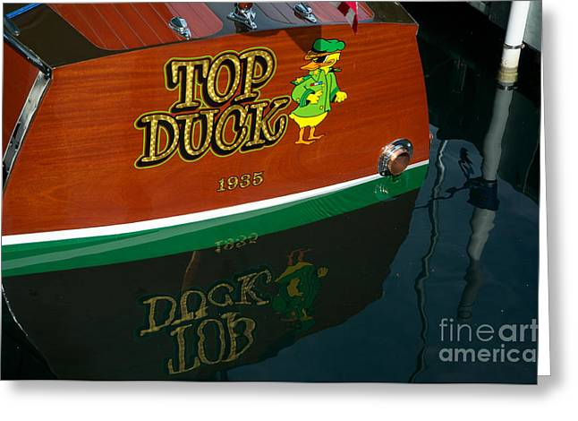 Greeting Card featuring the photograph Top Duck At Tahoe's Wooden Boat Festival  by Vinnie Oakes