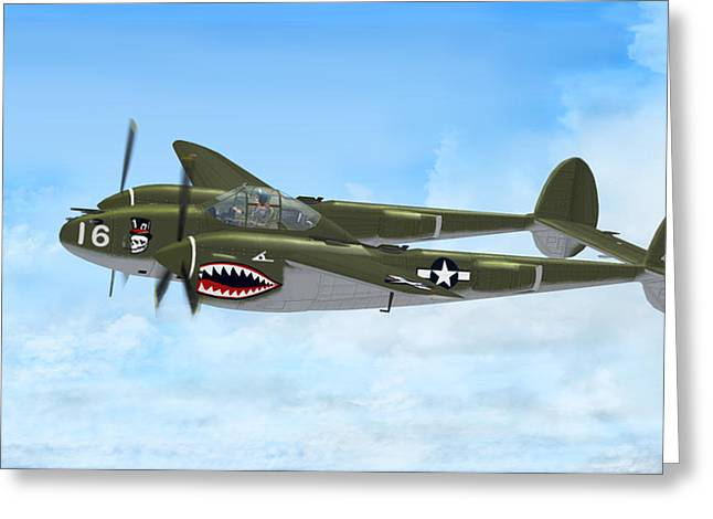 Top Hatted Skull P-38 Lightning Greeting Card by Walter Colvin