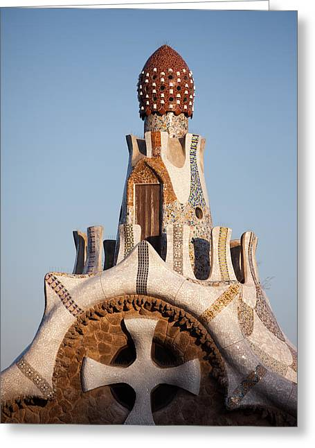 Top Of The Casa Del Guarda In Park Guell At Sunset Greeting Card