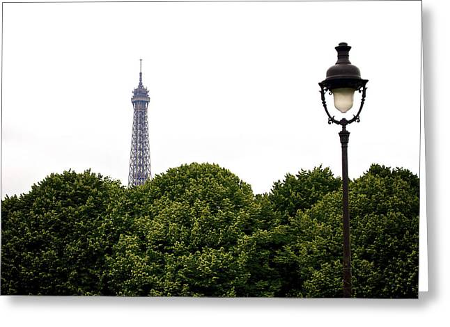 Top Of The Eiffel Tower And Street Lamp. Paris.france. Greeting Card
