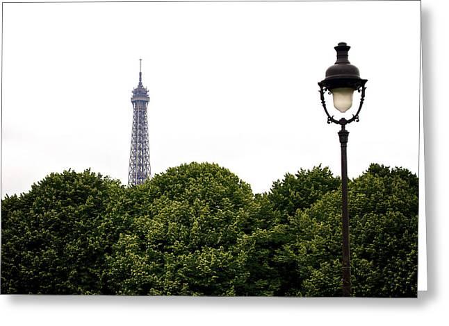 Top Of The Eiffel Tower And Street Lamp. Paris.france. Greeting Card by Bernard Jaubert