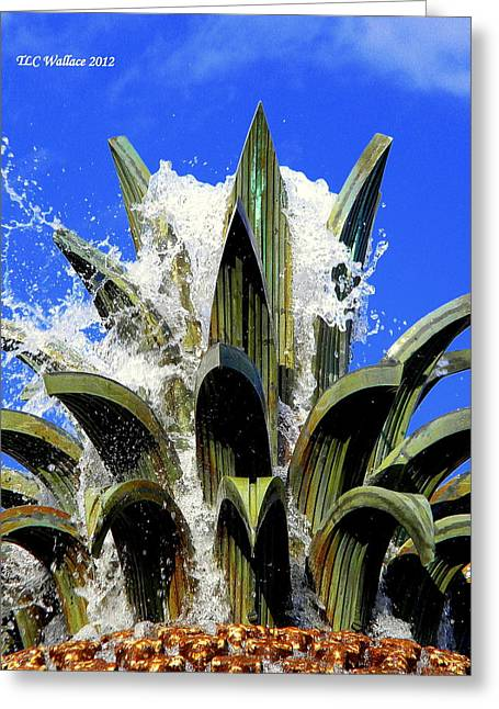 Top Of The Pineapple Fountain Greeting Card by Tammy Wallace