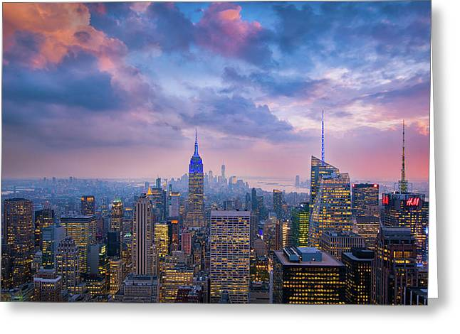 Top Of The Rock Greeting Card by Michael Zheng