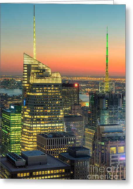Top Of The Rock Twilight II Greeting Card by Clarence Holmes