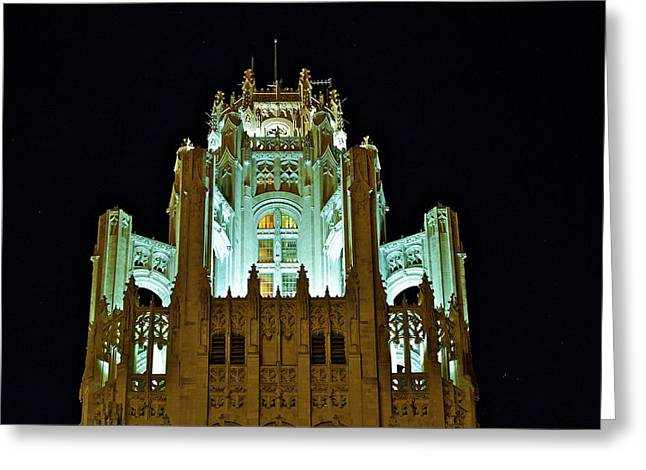 Top Of The Tribune Tower Greeting Card by John Babis