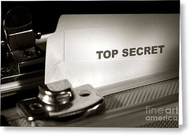 Top Secret Document In Armored Briefcase Greeting Card by Olivier Le Queinec