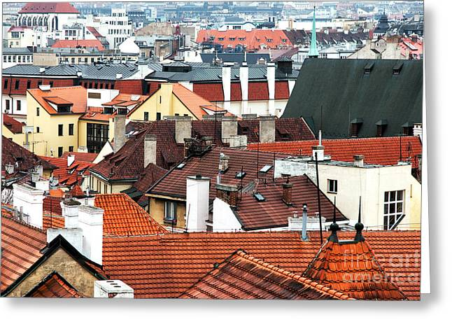 Top View In Prague Greeting Card by John Rizzuto