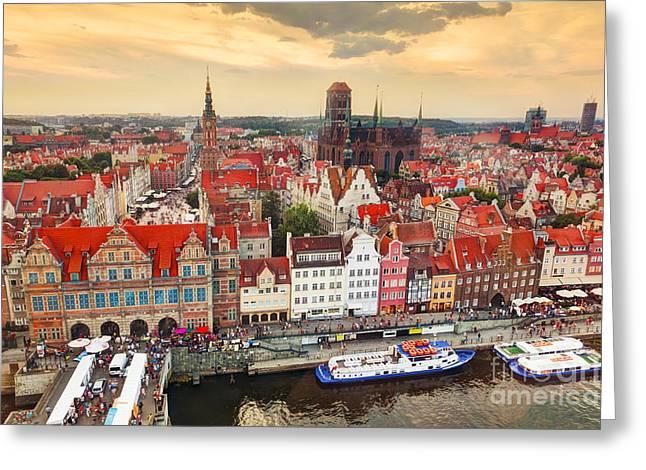 Top View On Gdansk Old Town And Motlawa River Greeting Card by Michal Bednarek