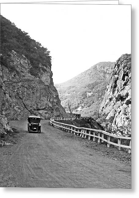 Topanga Canyon Road In La Greeting Card by Underwood Archives