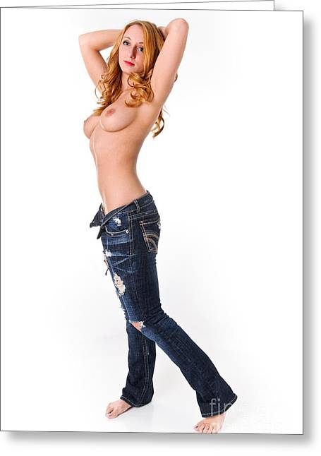 Topless Red Head Greeting Card by Jt PhotoDesign
