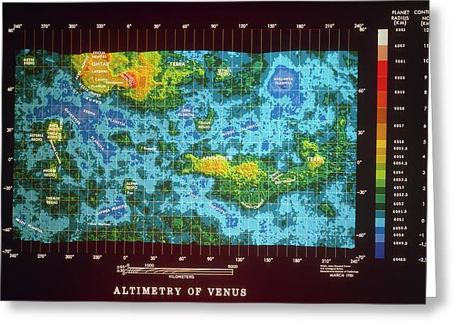 Topographic Map Of The Surface Of Venus Greeting Card