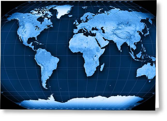 Topographic World Map Kavraisky Vii Projection Greeting Card by Frank Ramspott